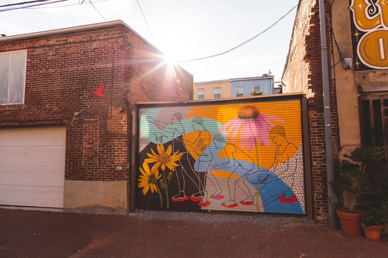 """Let Go"" Street Art Mural in Blagden Alley - Shaw Neighborhood in Washington, DC"