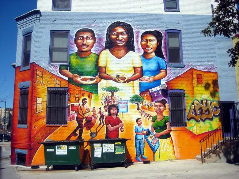 "Columbia Heights Street Mural in Washington - DC - ""My Culture, Mi Gente,"" by artist Joel Bergner"