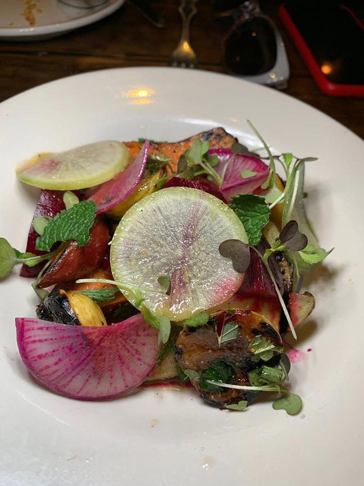 Grilled fingerling sweet potato salad at St. Anselm - Fall flavors at Washington, DC restaurants