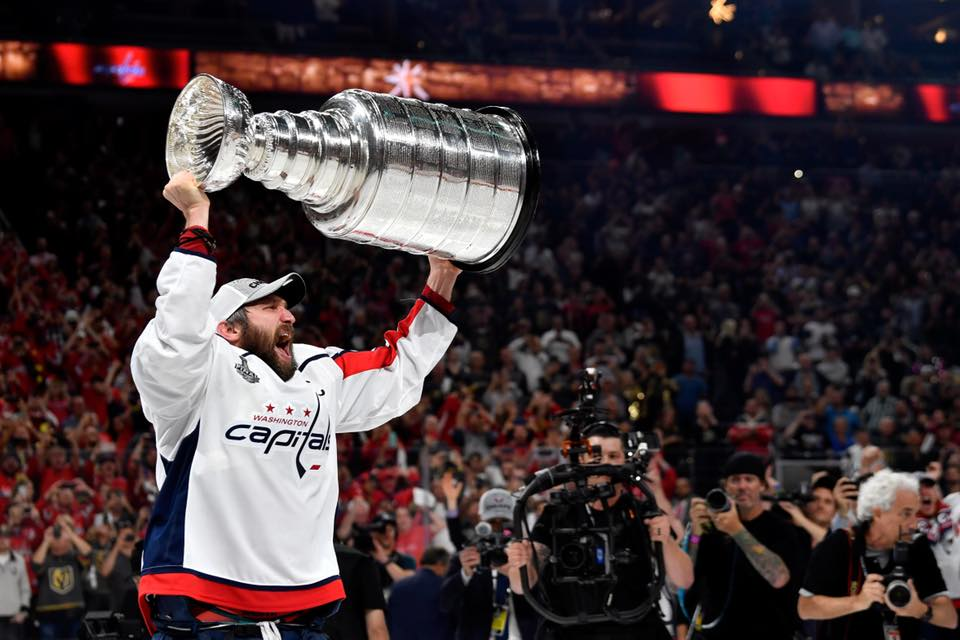 Alexander Ovechkin of the Washington Capitals with the Stanley Cup - NHL Hockey in Washington, DC