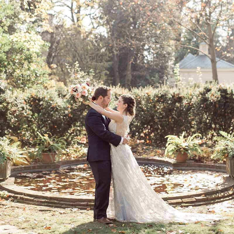 @erintornello - Couple on wedding day at Tudor Place Historic House and Garden - Fun and off-the-beaten path date ideas in Washington, DC