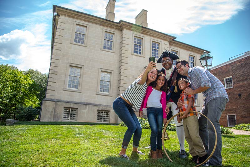 Family at historic Carlyle House in Old Town Alexandria - Things to do in historic Virginia