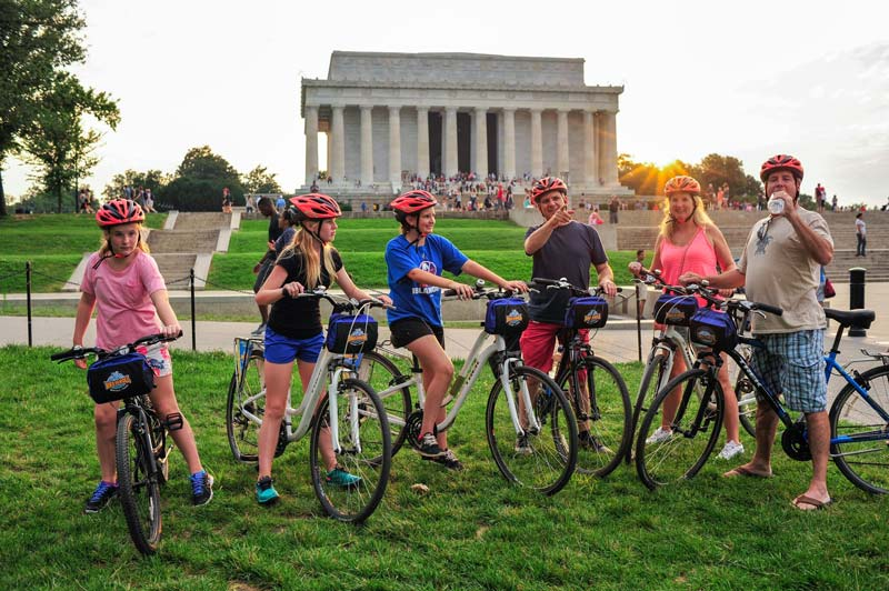 Family group on Bike and Roll bike tour - Eco-friendly tour options in Washington, DC