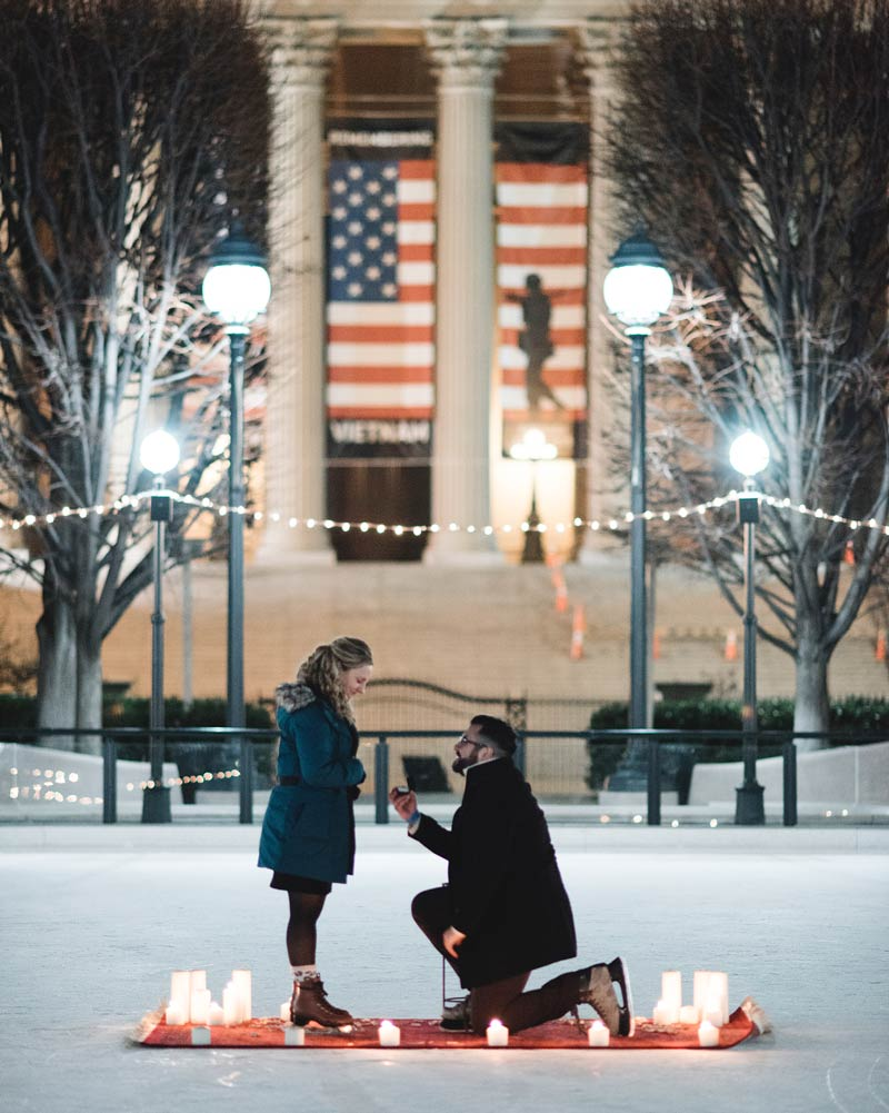 @mollyscottphoto - Proposal at the National Gallery of Art Sculpture Garden Skating Rink - Romantic Places in Washington, DC