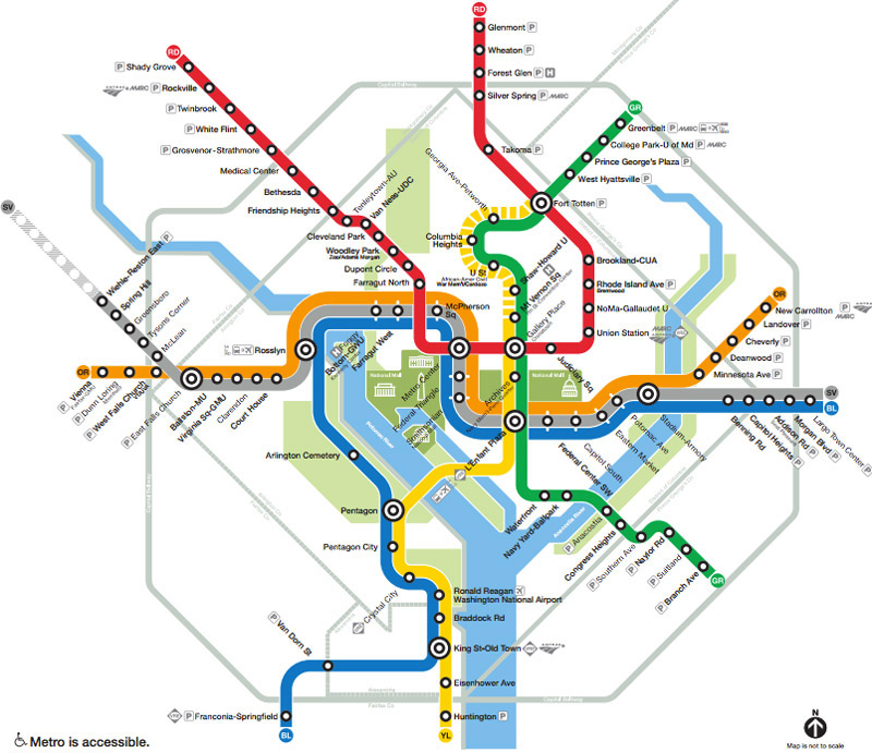 U-Bahn-Systemplan der Washington, DC U-Bahn