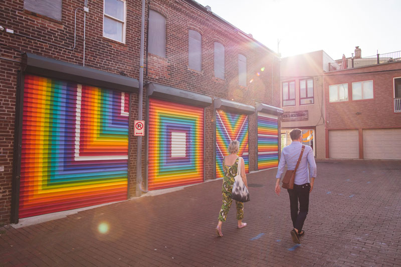 Street mural in Shaw's Blagden Alley - Historic, trendy neighborhood in Washington, DC