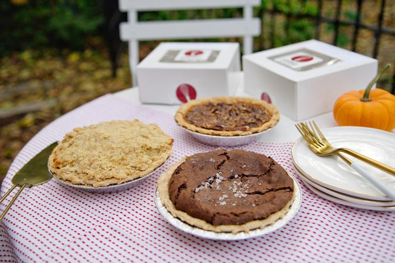 Chocolate sea salt chess pie and bourbon pecan pie from Whisked! - Locally made pies in Washington, DC