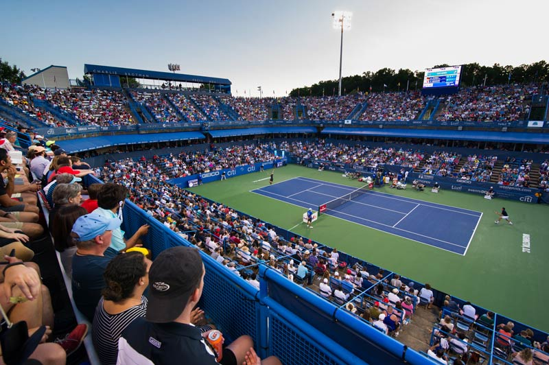 Fans in stands at Citi Open tennis tournament - Summer sporting events in Washington, DC