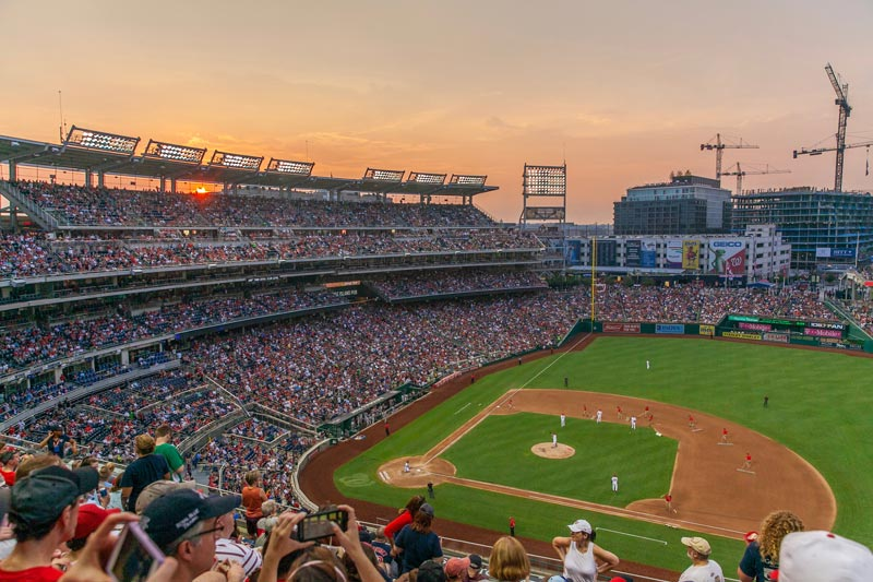 View of Nationals Park at sunset from upper deck - Washington Nationals baseball in Washington, DC