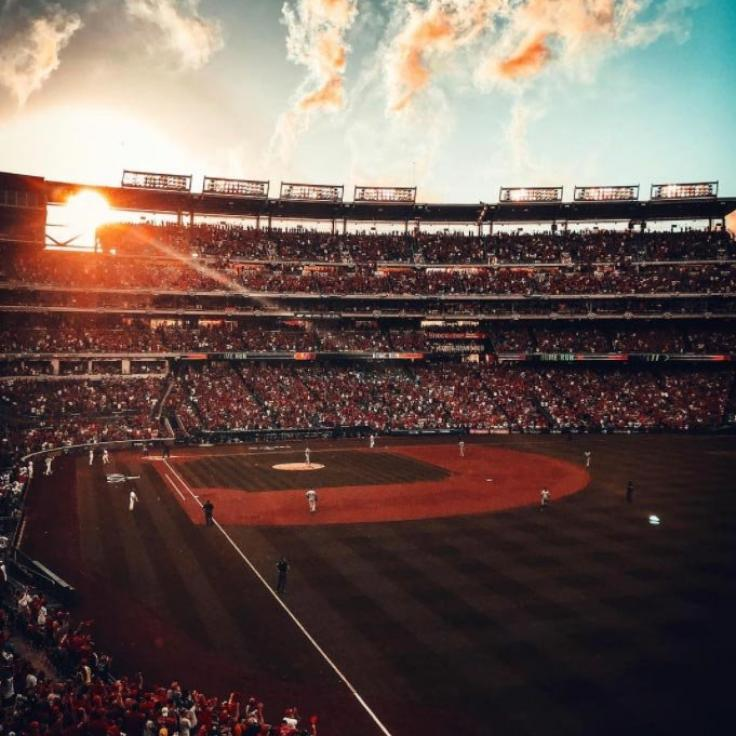 @amgarciaindc - Sunset at Nationals Park during Washington Nationals playoff game - Baseball in Washington, DC