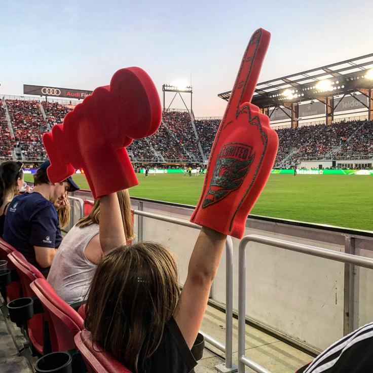 DC United Game fan with foam fingers