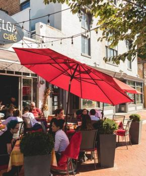 Outdoor patio at Belga Cafe on Barracks Row - Restaurant on Capitol Hill in Washington, DC