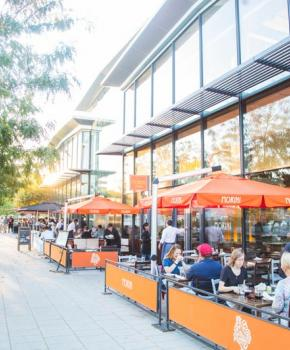 Outdoor dining at Osteria Morini - Italian restaurant on the Capitol Riverfront in Washington, DC