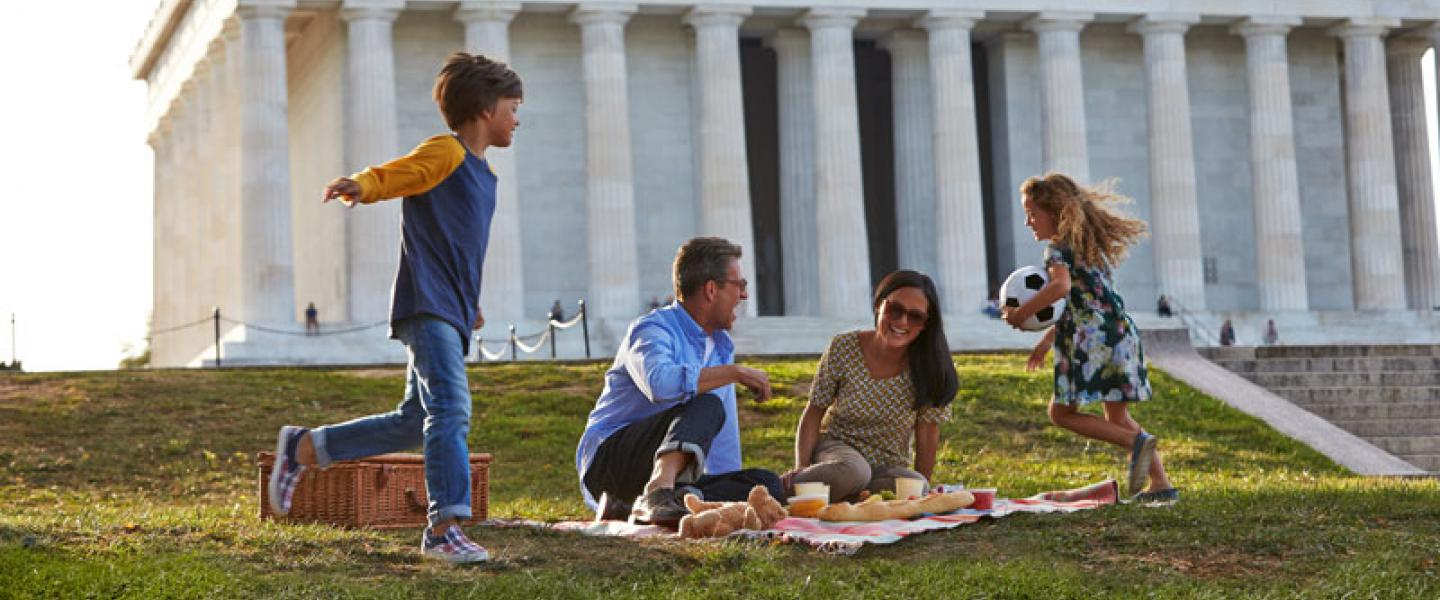 Family Picnicking by the Lincoln Memorial on the National Mall - Things to Do in Washington, DC