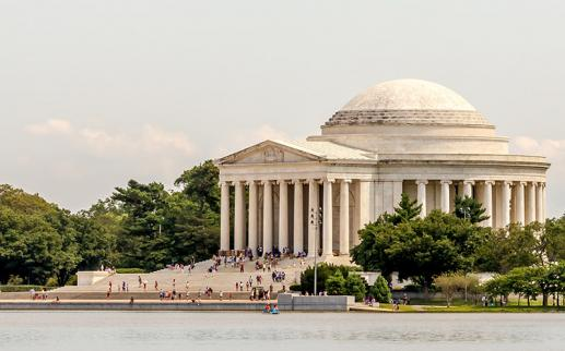 Jefferson Memorial with visitors on the National Mall - Memorials in Washington, DC
