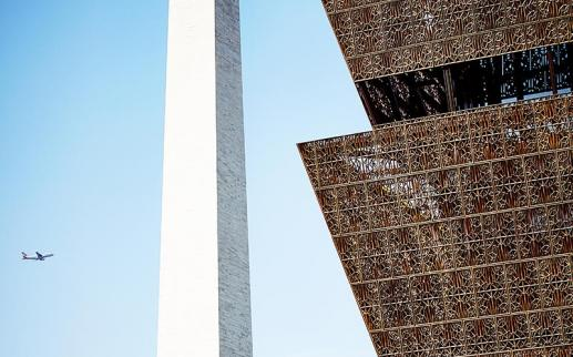 Washington Monument and the Smithsonian National Museum of African American History and Culture in Washington, DC