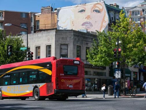 Marilyn Monroe-Wandbild an der Connecticut Avenue in Washington, DC