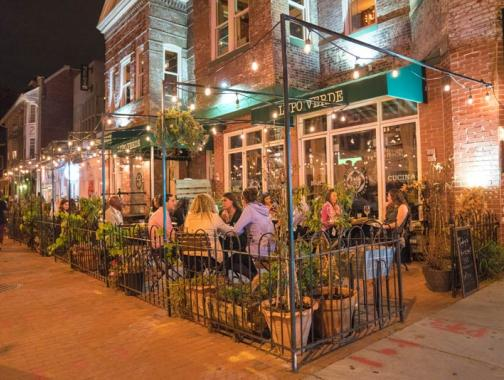 Outdoor dining on patio at Lupo Verde on 14th Street - Best restaurant patios in Washington, DC