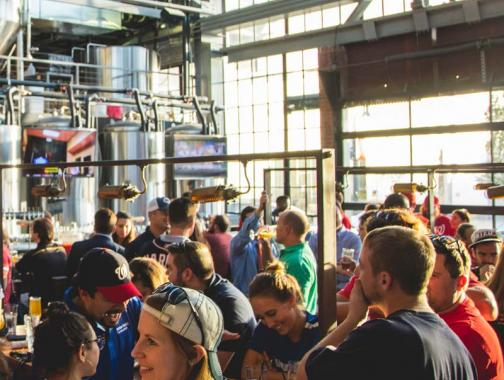 Local craft breweries, distilleries and wineries in Washington, DC - The bar at Bluejacket Brewery in Navy Yard-Capitol Riverfront
